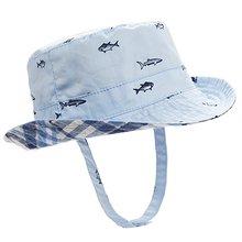 UPF50+ летняя Осенняя Двусторонняя Детская шляпа с защитой от УФ-лучей, летняя Солнцезащитная шляпа для малышей, шляпа-ведро для мальчиков и девочек, клетчатая шапка с принтом