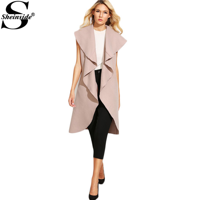 Sheinside Pink Oversized Waterfall Sleeveless Lapel Long Outerwear 2016 Fall New Style Women Trench Coat