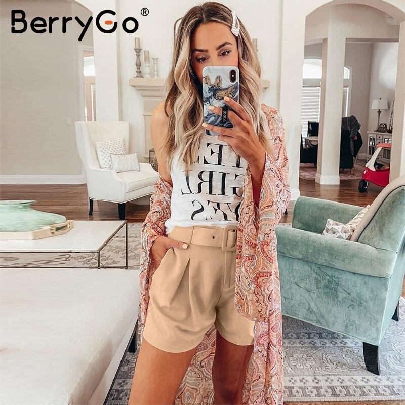 BerryGo Chic Sash Belt Women Shorts Casual Streetwear Elastic Waist Female Short Pants Bottoms Autumn Loose Office Ladies Shorts