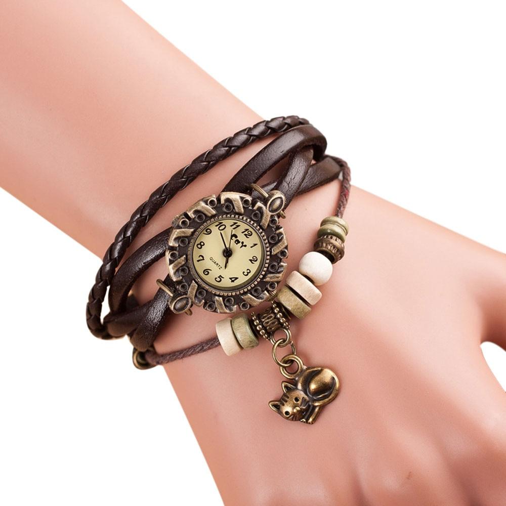 цена на Quartz Weave Around Leather Cat Bracelet Lady Woman Wrist Watch Special Pattern leather wrist watches clock bracelet Watch