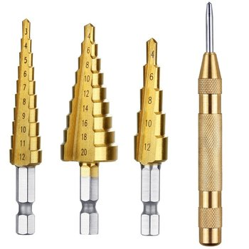 HSS Steel Titanium Step Drill Bits 3-12mm 4-12mm 4-20mm Step Cone Woodworking Metal Drilling Set , Automatic Center Punch