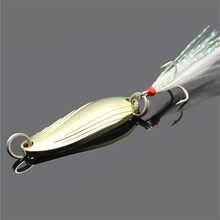 Gold Sliver Sequins with Feather Fishing Lures Spoon Lure