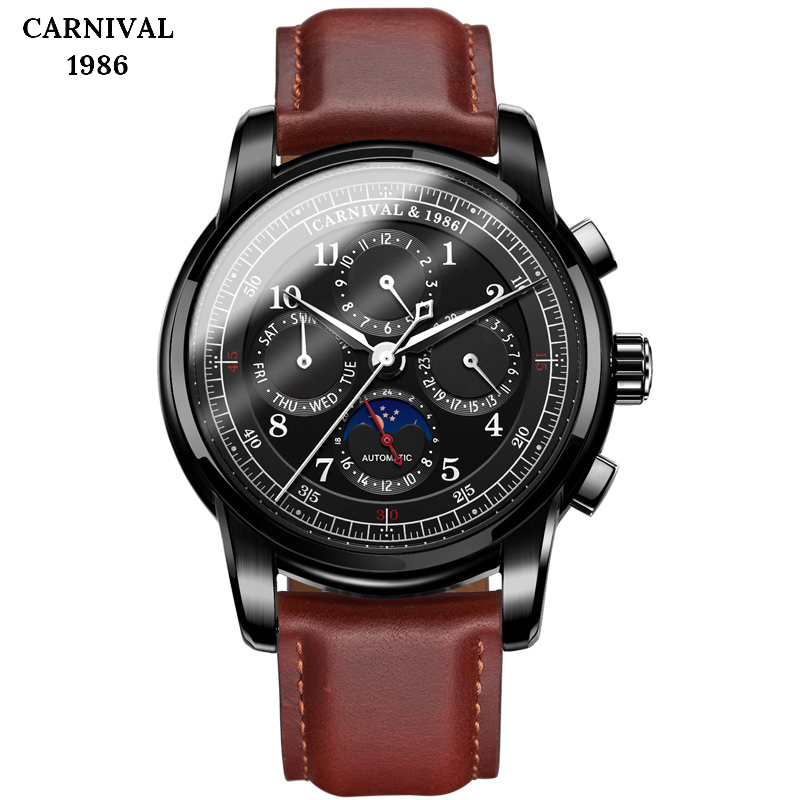 Top Brand Men Military Sport Watches Leather Automatic Mechanical Watch Waterproof Fashion Moon Phase Clock Relogio Masculino