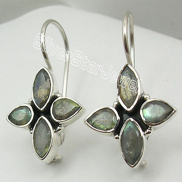 Solid Silver BLUE FLASH LABRADORITE FACETTED 4 STONE Earrings 3 CM BIJOUX