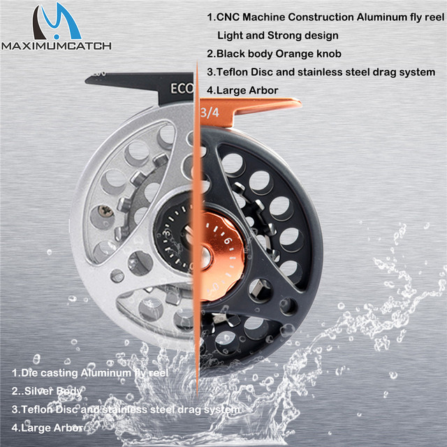 Maximumcatch High Quality ECO 2/3/4/5/6/7/8WT Fly Reel Large Arbor Aluminum Fly Fishing Reel Hand-Changed Fishing Reel 4