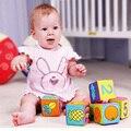 6 pçs/set bebê soft play cubos blocos de pano blocos de construção crianças multifuncional mágico chocalho sino
