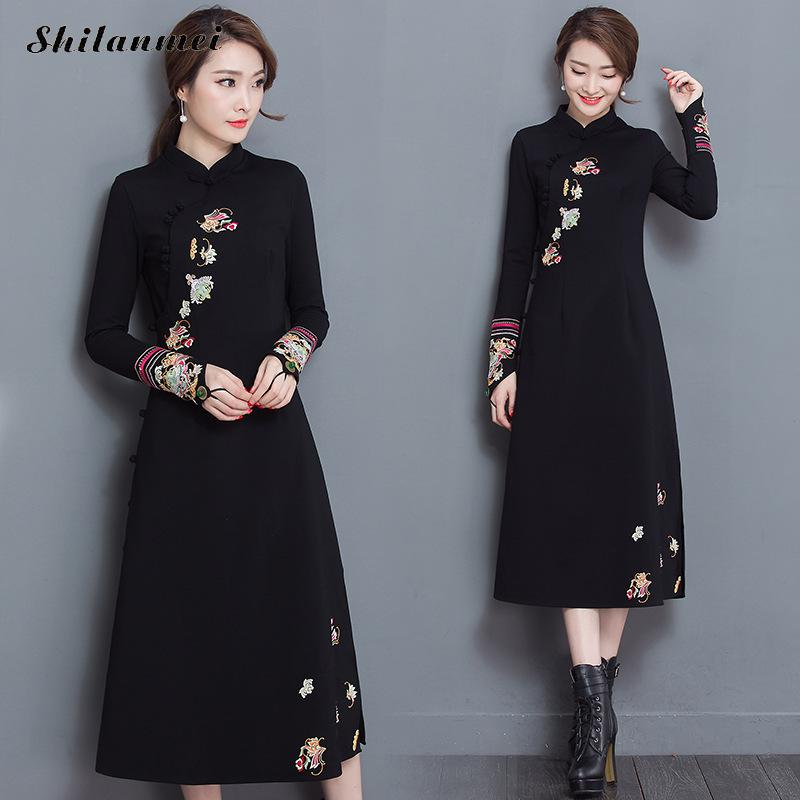 New arrival Spring Autumn cheongsam black dress vintage fashion plus size  embroidery Flowers elastic chinese traditional dress 914880d0613d