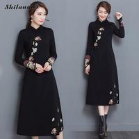 New arrival Spring Autumn cheongsam black dress vintage fashion plus size embroidery Flowers elastic chinese traditional dress