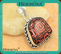 Magical Sterling Silver Genuine Dichroic Glass Natural Murano Glass Vintage Stone Pendant GM966