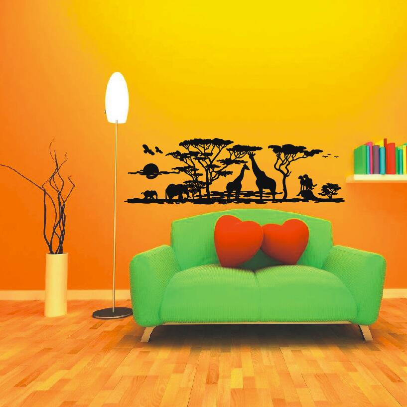 African Safari Wall Decal Vinyl Art Sticker Animal Zoo Nature Giraffe Nursery Elephant R ...