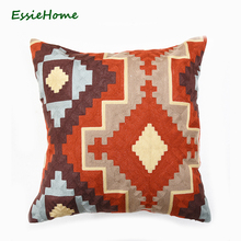 "ESSIE HOME Full Embroidery Chain Embroidery 18"" High End Kilim Pattern Cushion Cover Pillow Case Rust Red Red Throw Embroidery C"