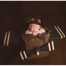 Новорожденных Пилот тема Подставки для фотографий древесины самолет позирует корзина для ребенка аксессуары для фотосессии новорожденных bebe fotografia реквизит
