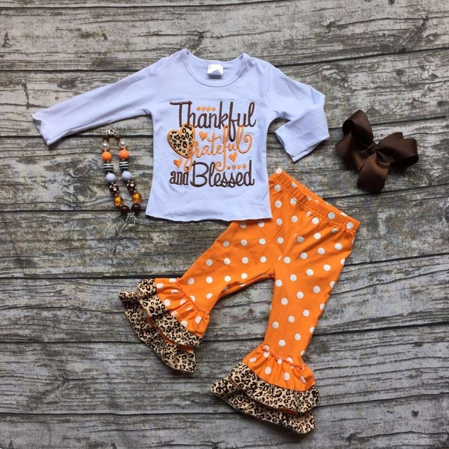 25f358d6643a baby girls Fall/Winter thanksgiving cotton clothes thankful & blessed  outfits children top with polka dot pant with accessories