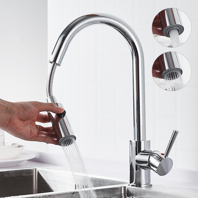 Kitchen Faucet Pull Out Plating Single Handle Kitchen Tap Single Hole Handle Swivel 360 Degree Water Mixer Tap Mixer