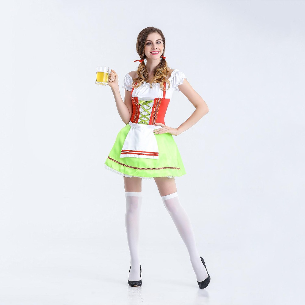VASHEJIANG Women Germany Bavarian Costumes Oktoberfest Beer Girl Costume Girl Wench Maiden Costume Maid Costumes for Halloween