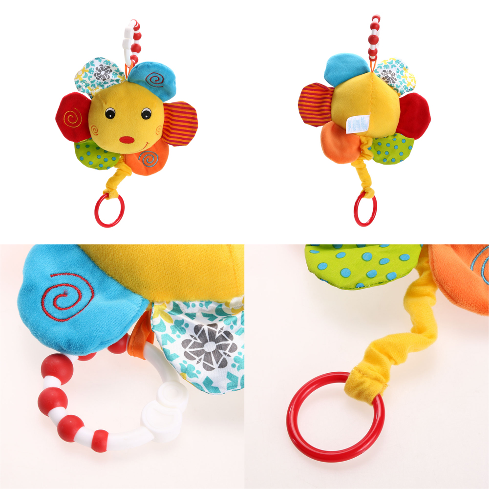 Cute Soft Stuffed Sunflower Baby Rattle Toy Built-in Music Box Plush Baby Stroller Crib Hanging Doll Kids Hand Grasp Doll Toy