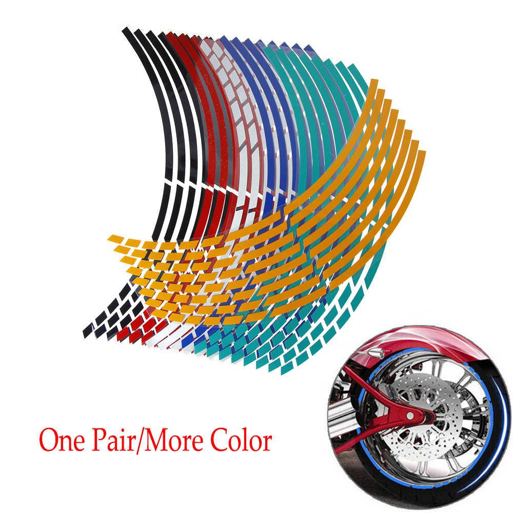 """16 قطعة 17 """"18"""" شرائط دراجة نارية سيارة عجلة الاطارات ملصقات عاكسة حافة الشريط دراجة نارية السيارات الشارات"""