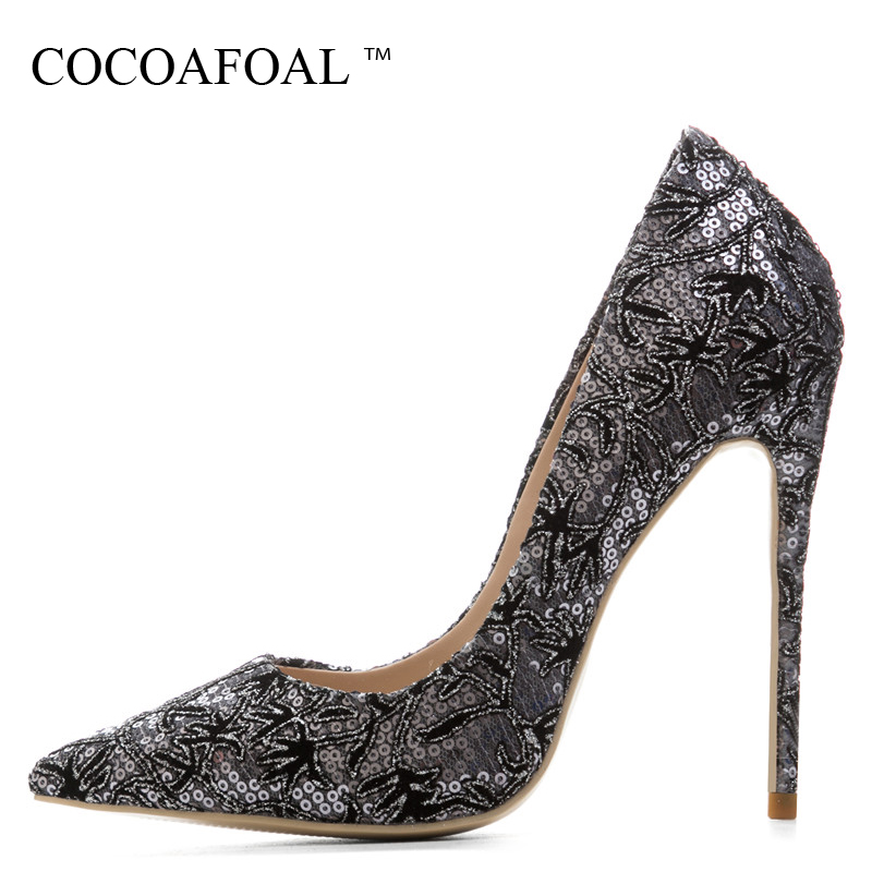 COCOAFOAL Woman Silver Gold Embroider Pumps Stiletto Plus Size 33 43 Pink Bling High Heels Wedding Shoes Sexy Valentine Shoes cocoafoal woman pink valentine shoes stiletto plus size 33 43 44 purple high heels shoes sexy pointed toe party wedding pumps