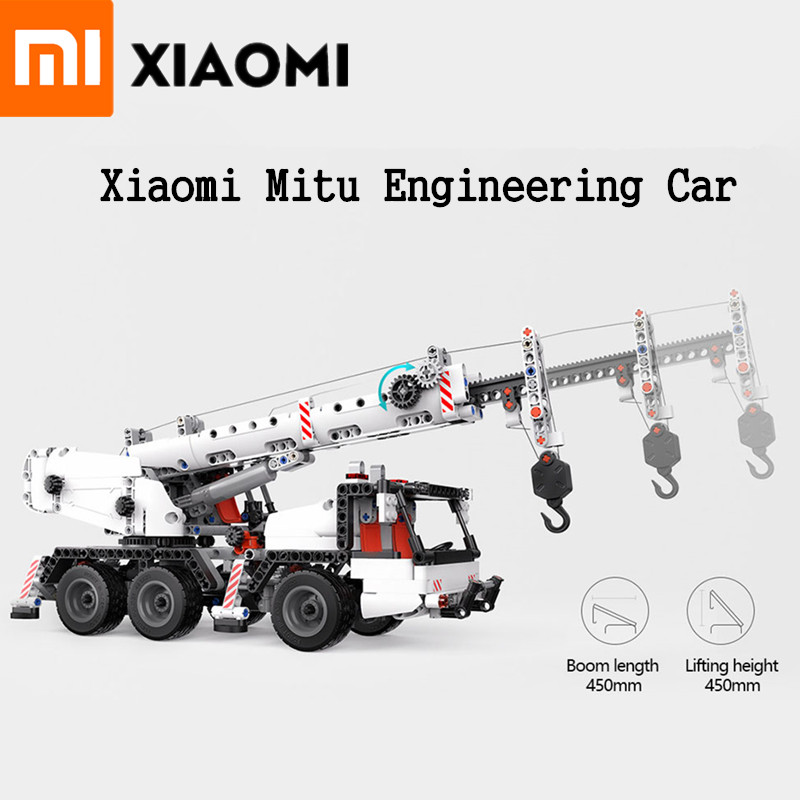 Original Xiaomi Mitu Engineering Car Mi Blocks Vehicles Truck Simulation Reduction Multi Engineering Crane Truck Gift