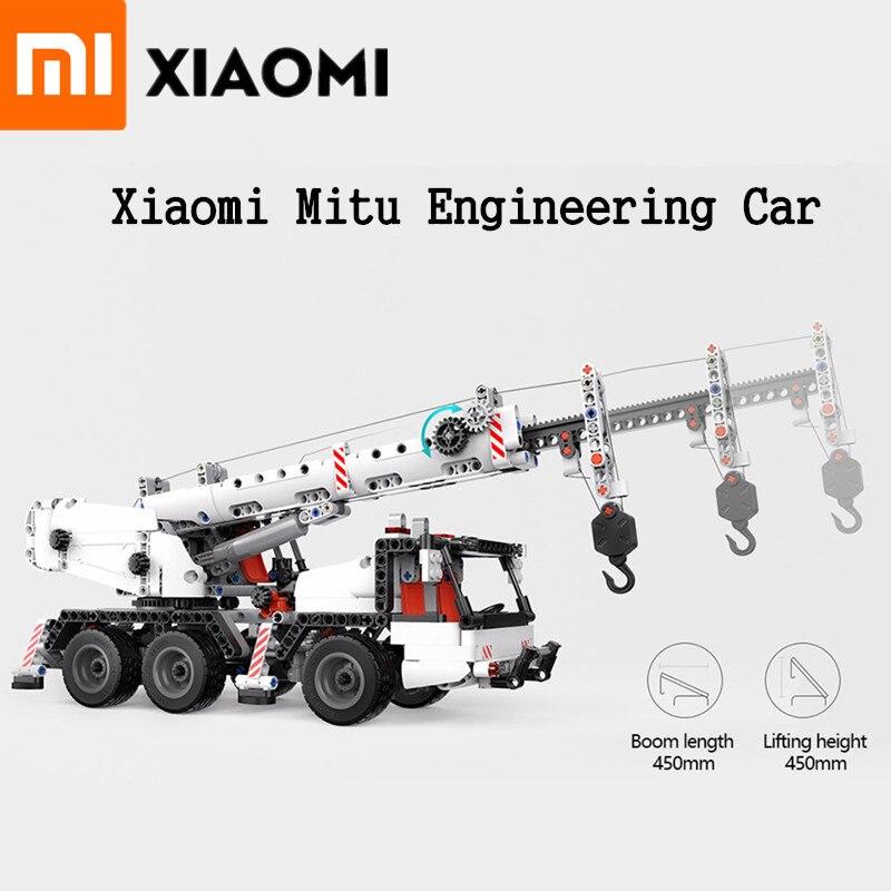 Originele Xiao Mi Mi Tu Techniek Auto Mi Blokken Voertuigen Truck Simulatie Vermindering Multi Techniek Crane Truck Gift Voor Kids