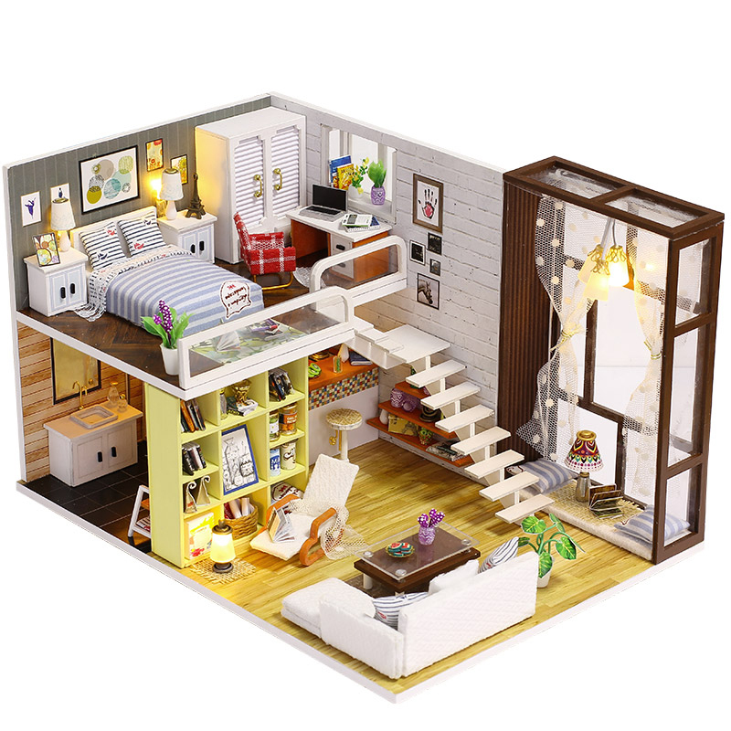 BRICOLAGE En Bois Maison de Poupée Jouet Dollhouse Miniature Assembler Kit Avec LED Meubles Artisanat Miniature Dollhouse Simple Ville Modèle