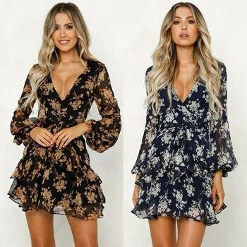 Womens Boho Dresses Women Summer Floral Chiffon Party Beach Short Mini Dress Sundress Lace v Neck Ruffles Dresses 1