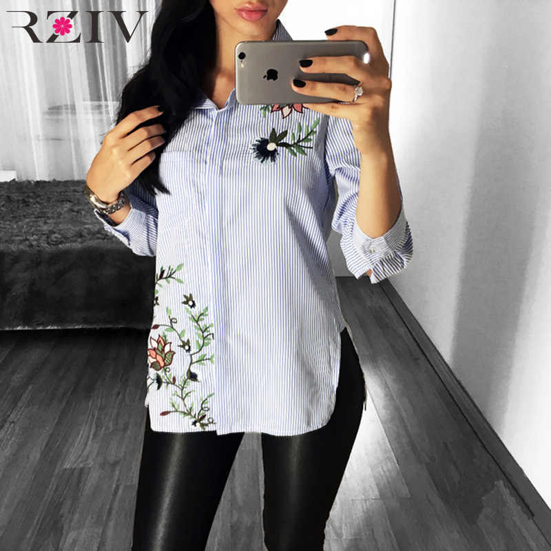RZIV Autumn female shirt blouse casual striped flower embroidered shirt top women