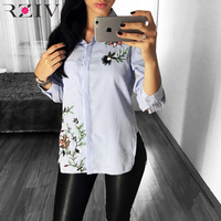 RZIV 2017 Female Shirt Summer Casual Striped Flower Embroidered Shirt