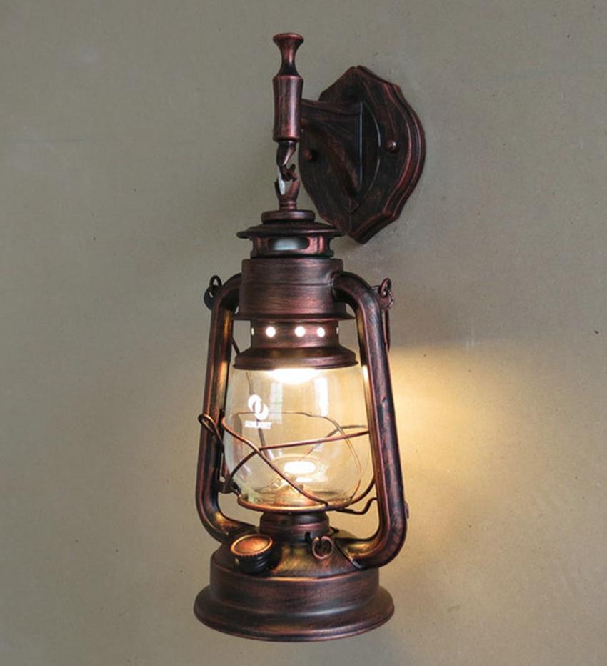 Mode antique appliques murales en fer forgé vintage lanterne lampe à pétrole mur lampe classique mur