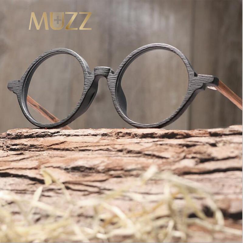 MUZZ Prescription glasses Round Men Eyeglasses Frame Ultra-Light Vintage Imitation Wooden Glasses Frame Eyeglass Acetate Glasses