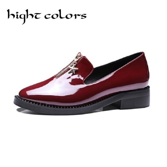 2019 New Spring zip women's loafers shoes solid oxford shoes for women round toe casual shoes woman vintage female flats