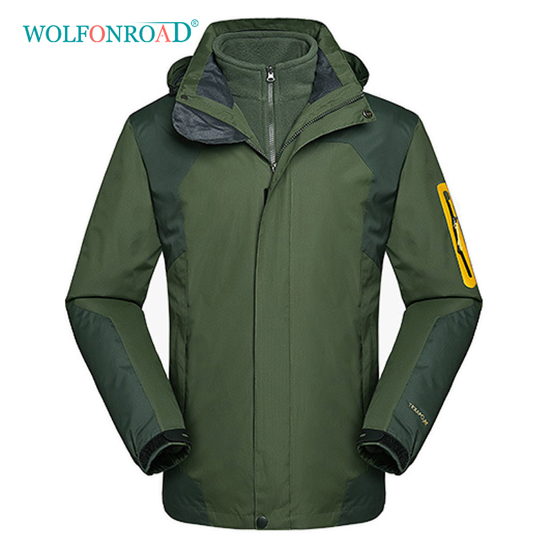 wolfonroad women 2 piece jackets waterproof outdoor sport thermal jacket coat winter hiking camping windbreaker mountain jackets WOLFONROAD Winter Men Women Hiking Windbreaker Waterproof Windproof Outdoor Sport Jacket Coat Thermal Warm 5XL Jackets 2 In 1