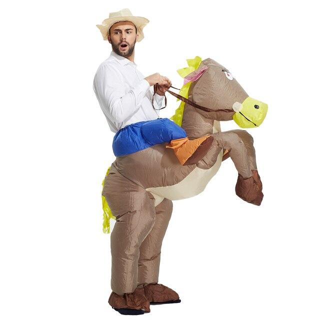 Disfraces Cosplay mejor venta traje vaquero inflable paseo en caballo  partido traje Halloween trajes para niños 01d0f56e027