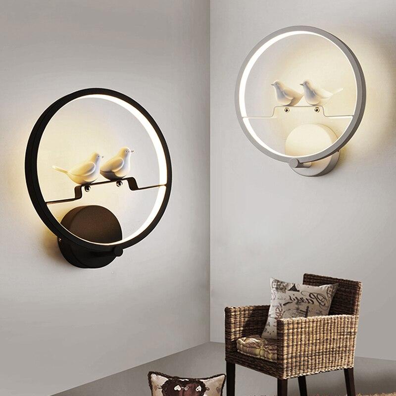 Птица настенные светильники светодиодные Творческий современной гостиной спальня ночники лестница проход лампы круглый бар настенный све...