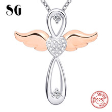 925 sterling silver angel cross pendant chain necklace with CZ&rose gold color wing diy fashion jewelry making for women gifts equte psiw264 stylish 925 sterling silver necklace w angel wing pendant for women silver 18