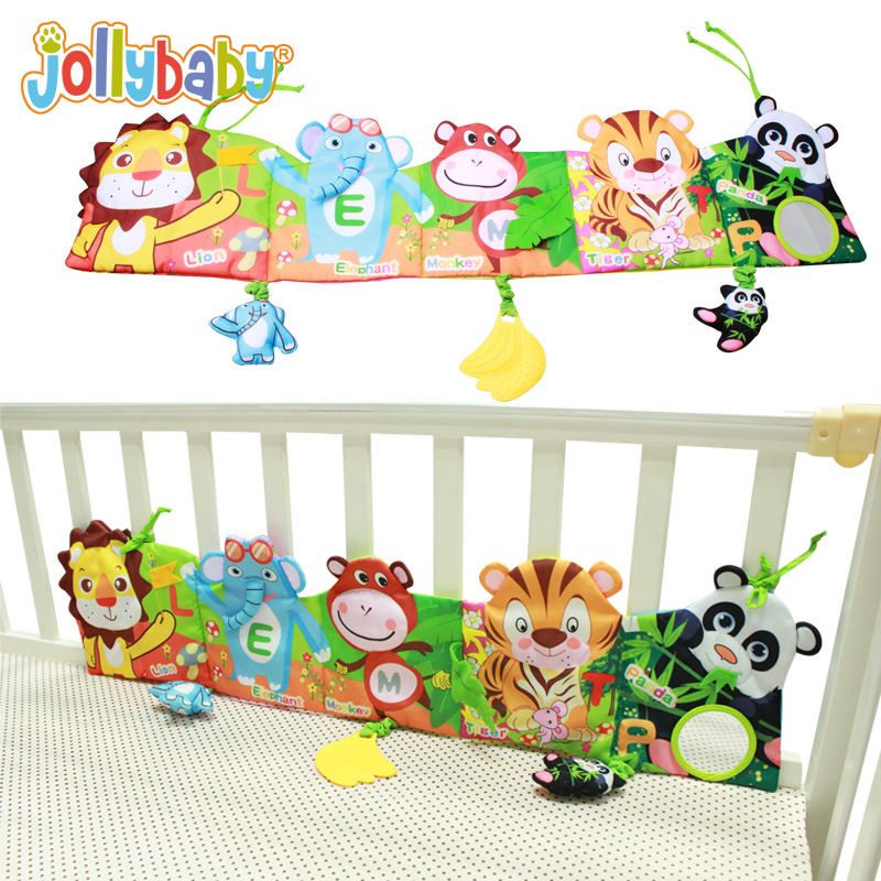 Jollybaby Baby bed Around and Cloth Book Infant Rattle with Animal Model Baby Educational Plush Animal