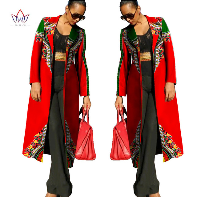 Autumn Ankara Fashions New African Dresses for Women Dashiki Print Women Trench Coat African Bazin Riche Material 6XL WY113