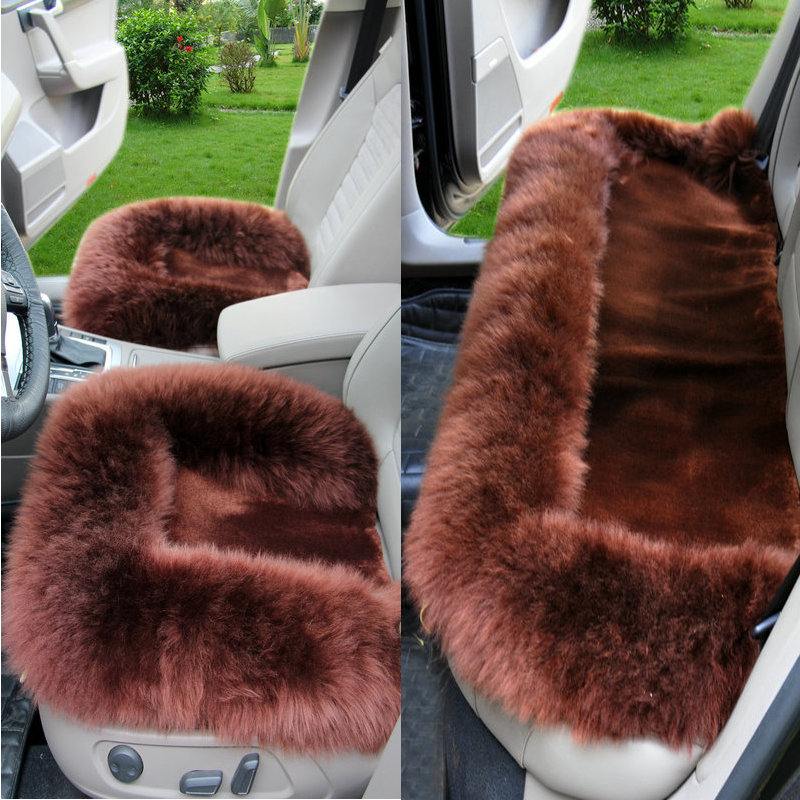 New 3pcs Car Seat Wool Cushions Water Cube Shape Universal Australia Long Wool Furry Aut ...
