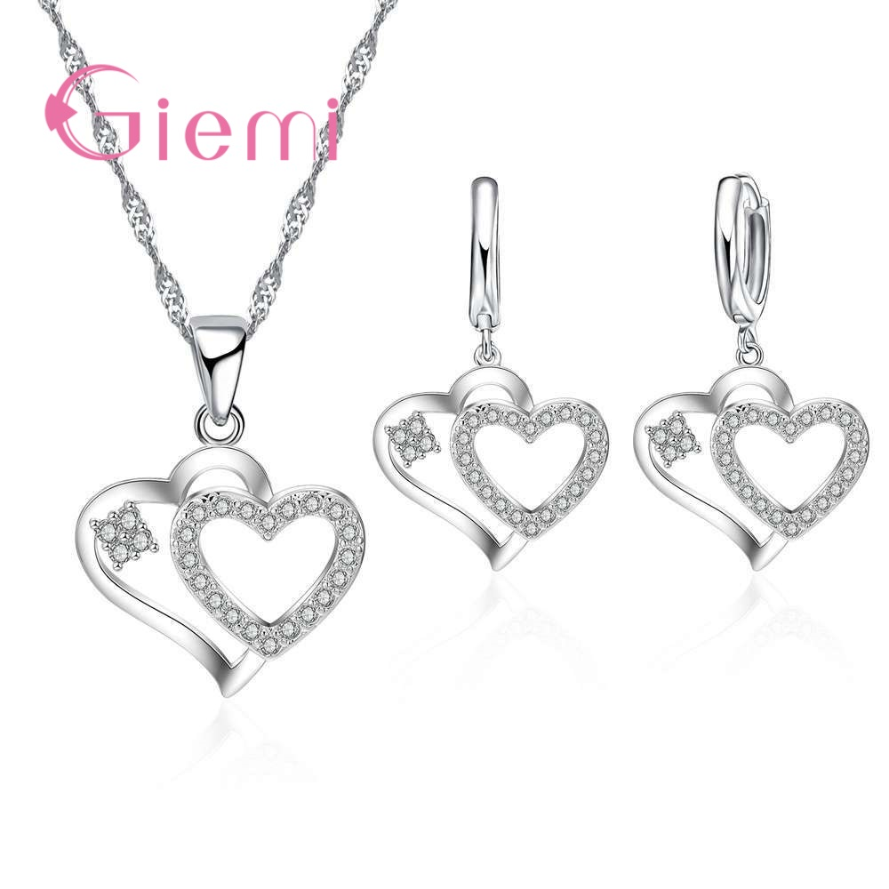 GIEMI Double Heart 925 Sterling Silver Pendant Wedding Jewelry Sets For Bridal Bridesmaids Love Hoop Earrings Valentine's Gift