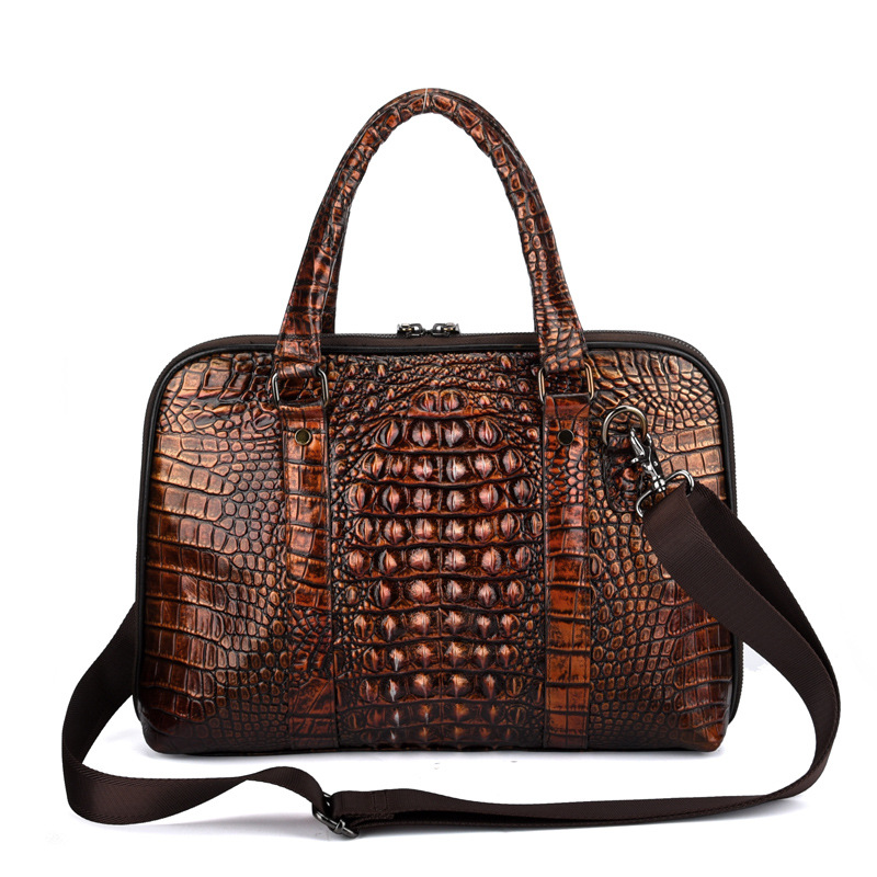 Men's business laptop bag Crocodile cross-section square leather bag Europe and America hand-rubbing diagonal shoulder bag women s new hit color stylish leather square bag europe and american stylish cross single shoulder diagonal bag