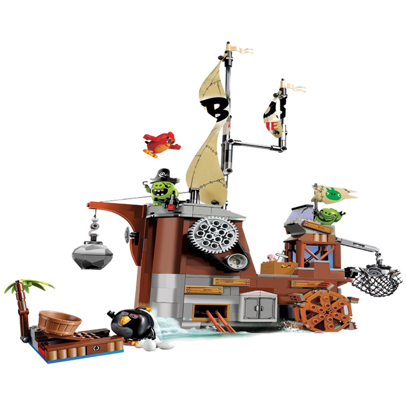 BELA Piggy Pirate Ship Building Birds Blocks Game Sets Bricks Classic Friends Kids Model Toys For Children Compatible Legoings red pirate ship blocks compatible legoingly war pirate king character action diy bricks cannon building blocks toys for children