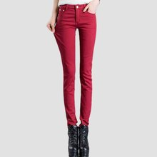 Осень Зима толстый бархат леггинсы женские плюс размер карандаш брюки флис теплые джинсы женские длинные брюки эластичные Джинсы женщин