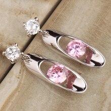 Gorgeous Gems Pink Cubic zirconia 925 de Plata Cuelga Los Pendientes de la Joyería Para Las Mujeres Envío de La Gota S5347