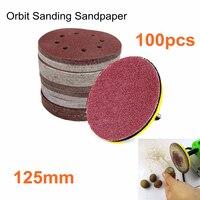 100Pcs 5 Abrasive Sand Paper 60 80 100 120 240 Grit Orbital Sandpaper Sheet Hook Loop