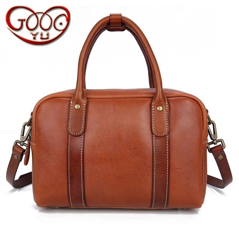 Women's leather hand-carry Shoulder Messenger bag first layer of vegetable tanned leather commute minimalist Boston package qiaobao 2018 new korean version of the first layer of women s leather packet messenger bag female shoulder diagonal cross bag