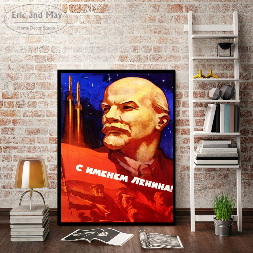 Lenin Soviet Posters and Prints Cotton Canvas Art Painting Wall Pictures For Room Decoration Home Decor No Frame Picture in Painting Calligraphy from Home Garden