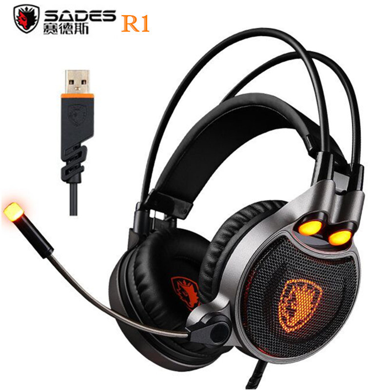 Sades R1 Gaming Headphone Microphone USB 7.1 Surround Stereo Sound Vibration With LED Light PC Gamer Gaming Headset for Computer somic g910i gaming headset 7 1 surround sound vibration usb with mic bass headphone led light big earphones for computer ps4 pc