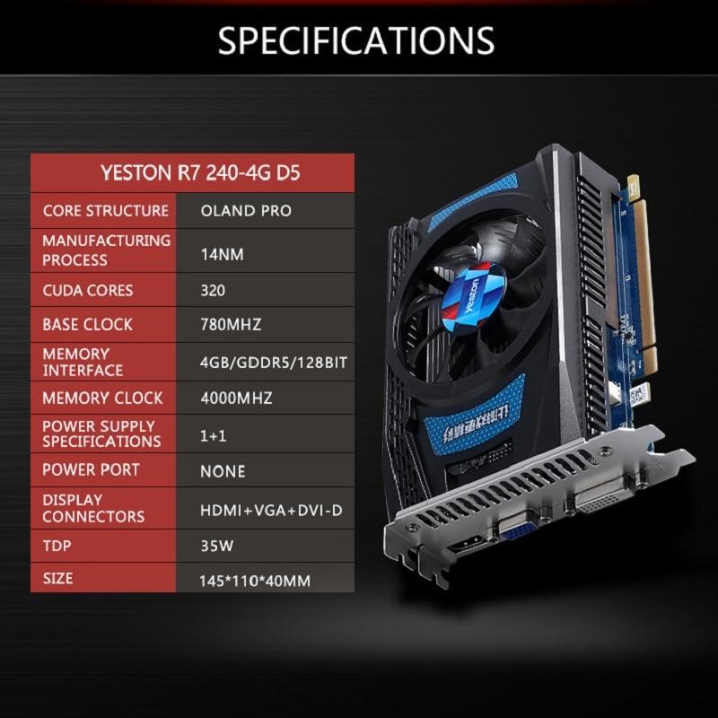 Yeston Radeon R7 серии 200 R7 240 GPU 4 ГБ GDDR5 128bit игровых настольных ПК видео Графика карты поддерживают VGA /DVI/HDMI