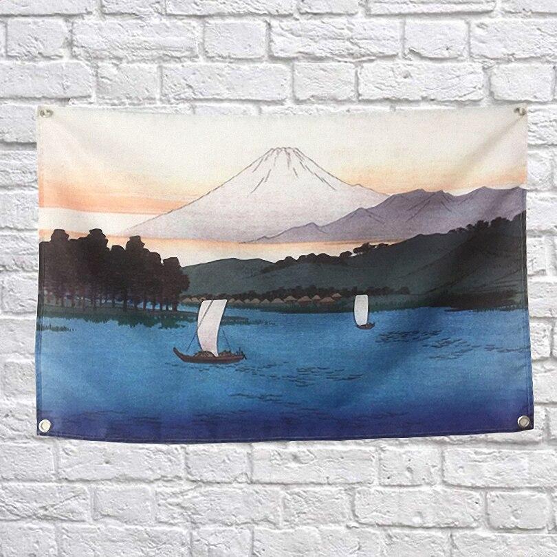Japonais Ukiyo-e paysage affiche bannières Bar café hôtel thème décoration murale suspendus Art imperméable tissu Polyester tissu drapeaux