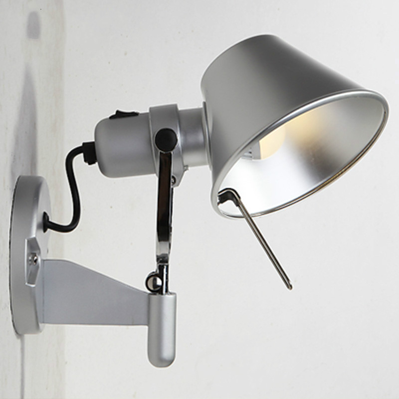 Silver Black Nordic Bedside Wall Lamp With Rotary Lamp Head E27 LED Wall Light For Bedroom Reading Hallway Living Room Lighting